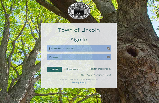 permit sign-on screen image
